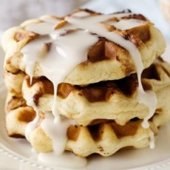 Cinnamon Roll Waffles with Cream Cheese Glaze